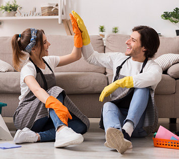 A Couple Cleaning Because Its Part Of Making A Home Healthy